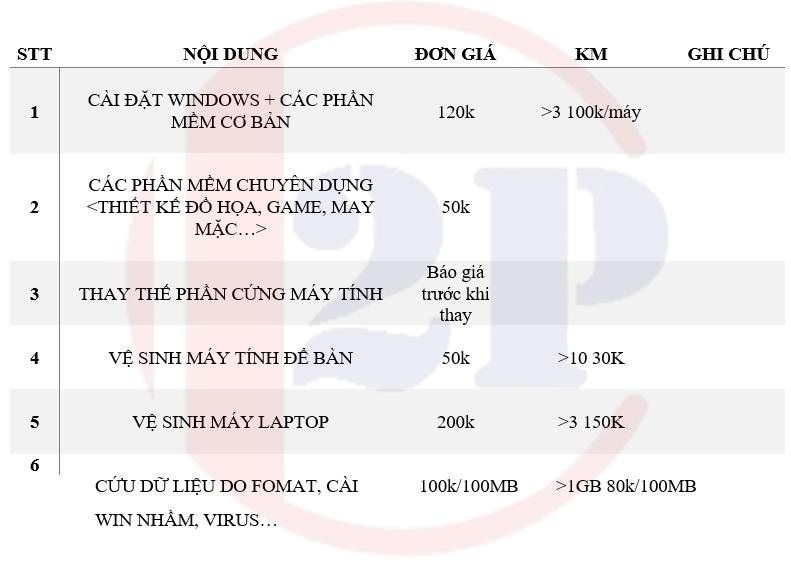 Dịch vụ sửa máy tính 2pcom